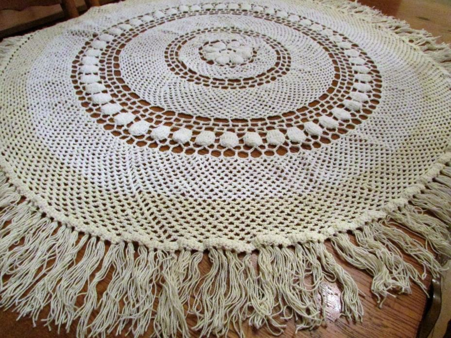 Winter White & Ivory Crocheted Tablecloth 56'' Round