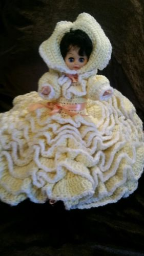 VINTAGE DOLL WITH CROCHETED DRESS AND BONNET