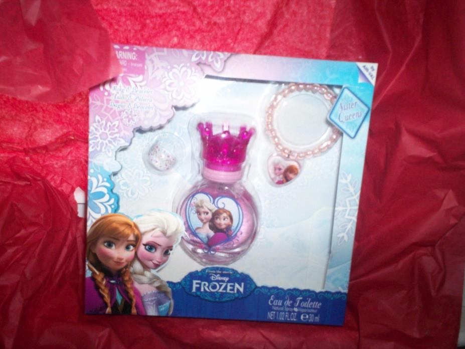 NIB DISNEY FROZEN EAU DE TOILETTE 3 PC GIFT SET SPRAY BOTTLE RING BRACLET