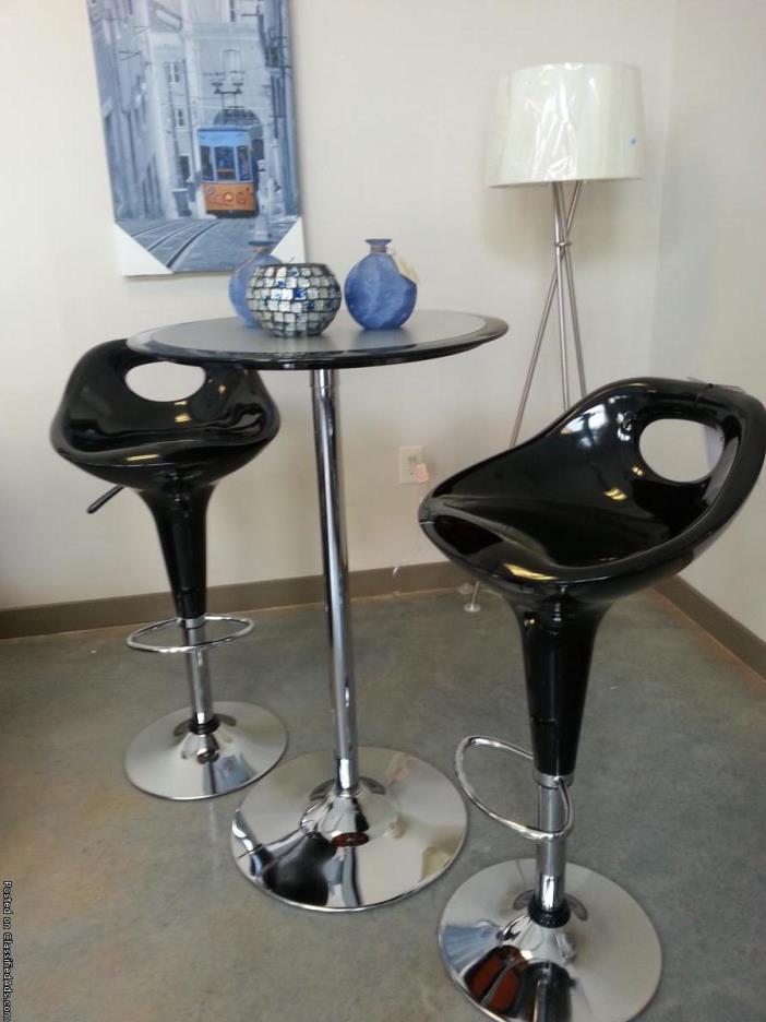 Black adjustable new bar stools