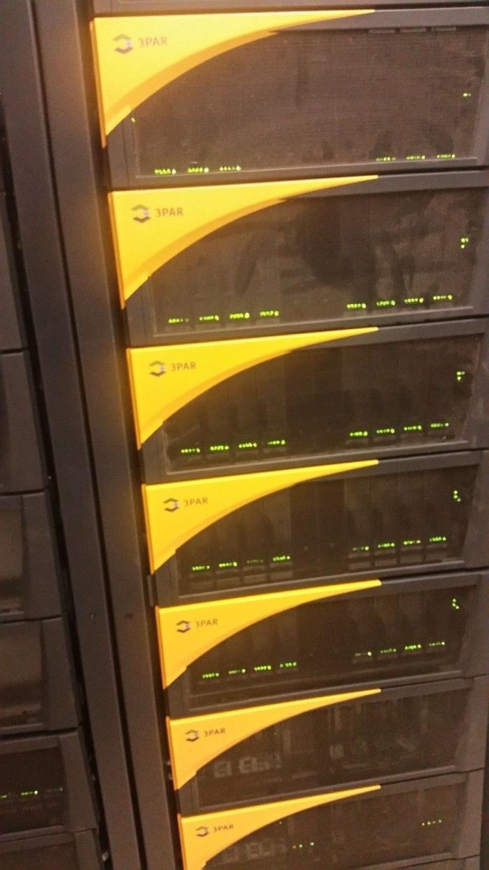 HP 3PAR 300TB TOTAL HARD DRIVES FIBRE CHANNEL WITH TWO SAN S CLASS STORAGE RACKS