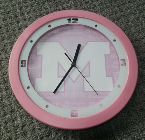 NCAA Michigan Wolverines Pink Wall Clock