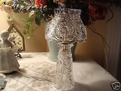 Vintage Crystal Nightstand Boudoir Table Nightlight Light Lamp Brass Acorn Finia