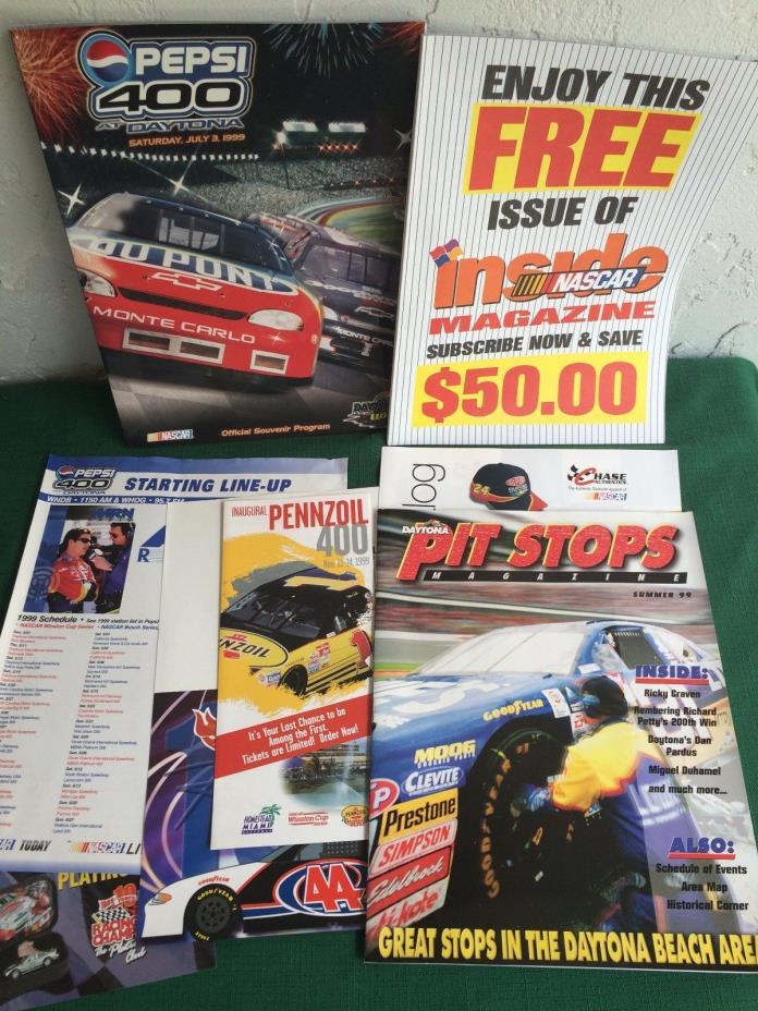 PEPSI 400 Official Souvenir Program, 1999/ with Inside NASCAR Magazine & more...