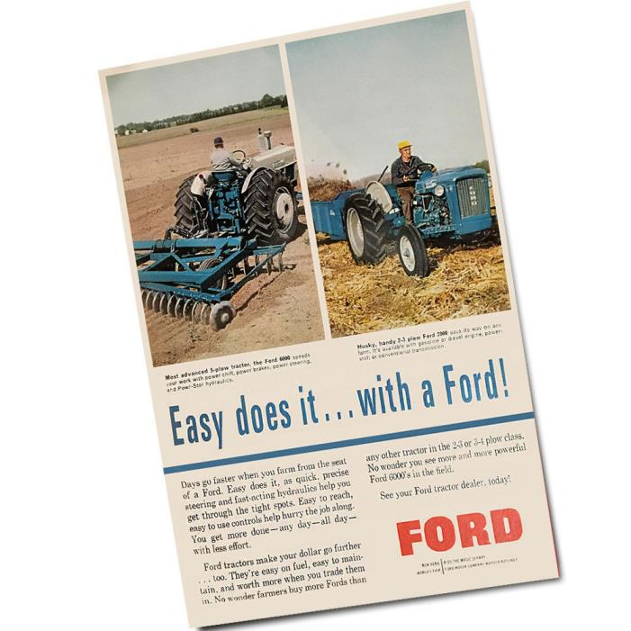 Two 1960's Ford Tractor Advertisement Easy Does It with A Ford Wall Posters