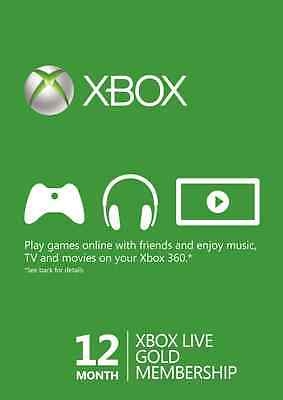 12 Month Microsoft Xbox Live Gold Member Subscription (Xbox One/360) Digital