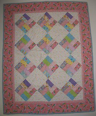 Handmade Baby Girl Crib Quilt Butterflies Stars Pink