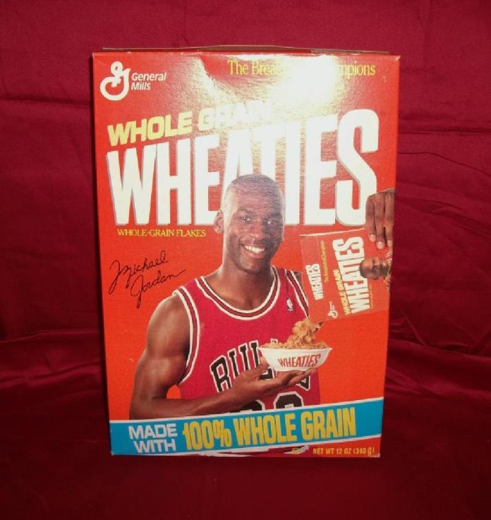 1990 Vintage Michael Jordan Unopened General Mills Wheaties Cereal Box.