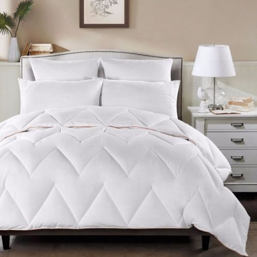 White Chevron Zig Zag Down Alternative Comforter Full with Orange Borders