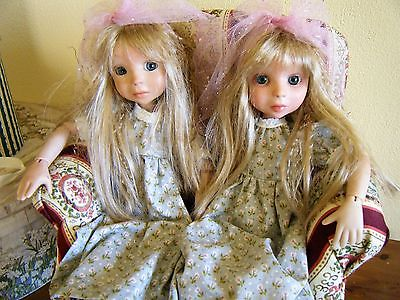 2-BJD DOLLS-Twin sisters Maizy and Maddy with Chair- Karen Vander Logt