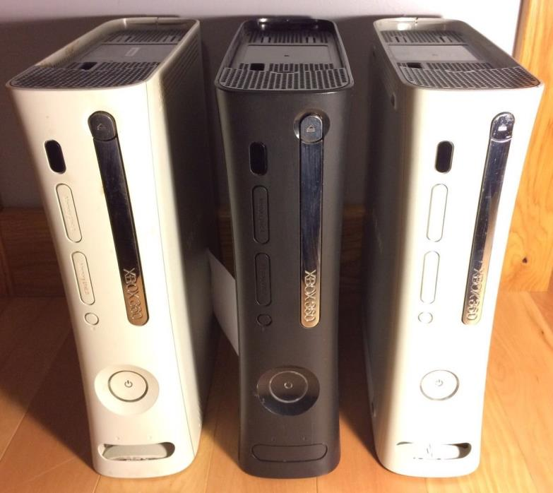 Lot of 3 Broken Xbox 360 Consoles for Parts (RROD, no picture, bad disc tray)