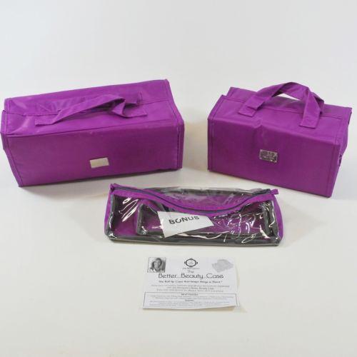 JM New York 3 Piece Cosmetic Make Up Bag Travel Set, Purple- HSN, NIB