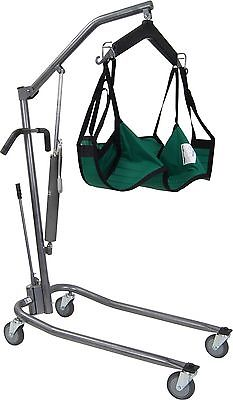 Silver Hydraulic Patient Power Lift with Six Point Cradle Including Sling Chains