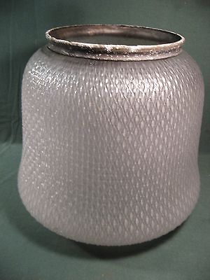 ANTIQUE INDUSTRIAL QUILTED GLASS SHADE POLE LIGHT STREETLIGHT