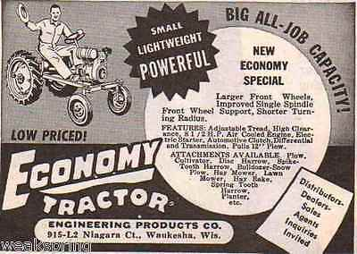 Vintage 1954 Ad for ECONOMY TRACTOR Small, Lightweight, Powerful ~ Waukesha, WI
