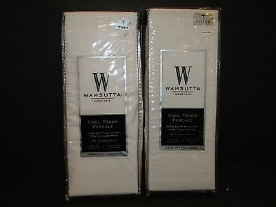 NEW! WAMSUTTA 1 Twin Fitted & Flat WHITE Sheets~Cool Touch Percale~350 THREAD