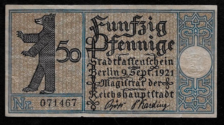 Germany Notgeld Berlin 50 Pfennig 1921