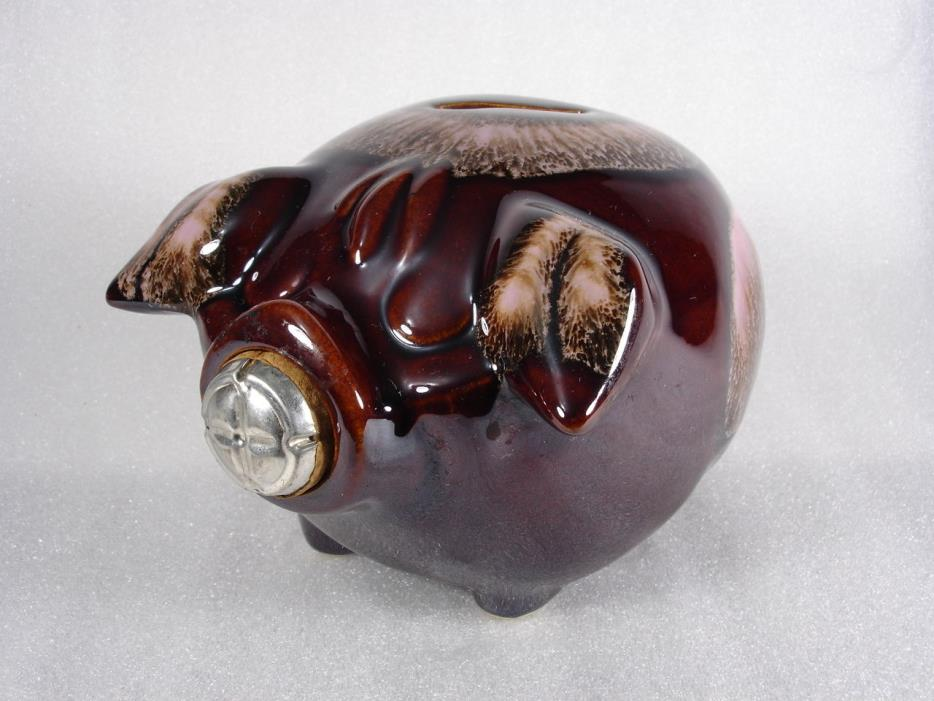 Vintage Corky Pig Brown Pink Piggy Bank