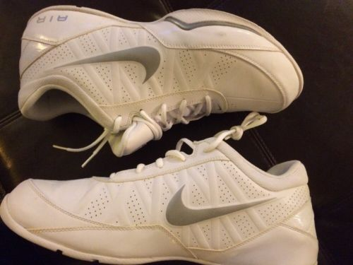 Nike Air Mens Sneakers Shoes Size 14  White & Gray Swoosh Clean GUC }