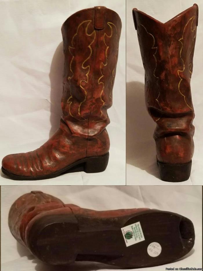 """Garden Planter Vase 12 ½"""" Cowboy Boot"""