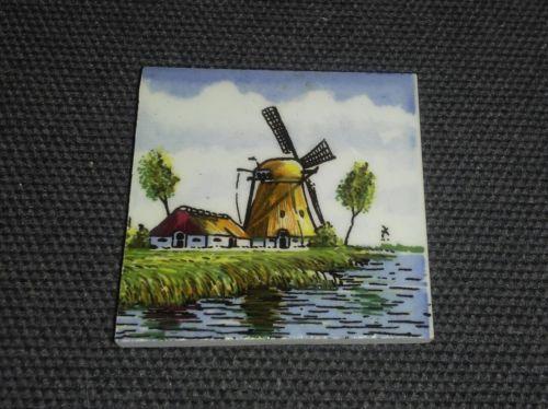 Delft Holland Miniature Tile Plaque Windmill Scene
