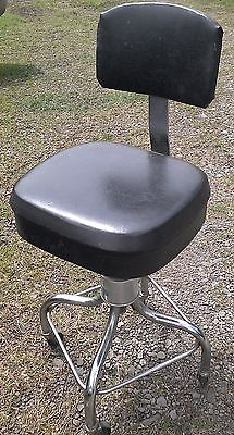 Vintage Pedigo Chrome Adjustable Barber Stool Dentist Doctor Chair With Back