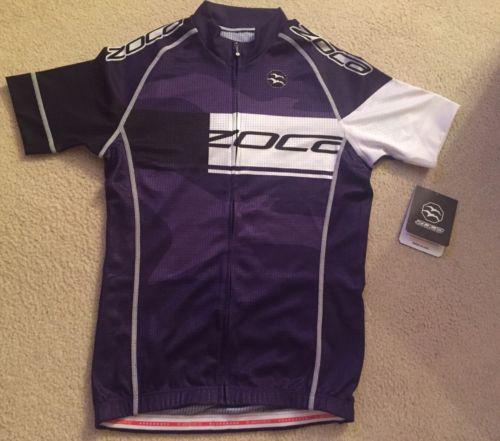 ZOCA Purple Black & White Full Zip Women's Cycling Jersey, Small NWT
