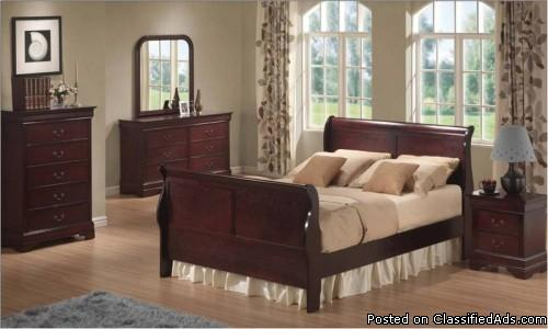 7pc Queen Cherry Louis Bedroom Set