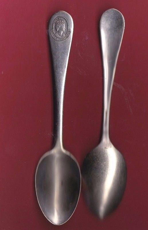 (2) Silverplate Souvenir Spoon Queen Elizabeth ll (Two Spoons)1958 circa