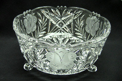 Pressed Clear Glass Crystal Bowl Etched Frosted Footed Saw Tooth/Scalloped Edge
