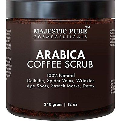 Majestic Pure Arabica Coffee Scrub, 12 Oz - Natural Skin Care for Stretch Marks,