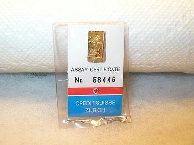1 Gram 999.9 Gold Credit Suisse Zurich Nr 58446 c1980