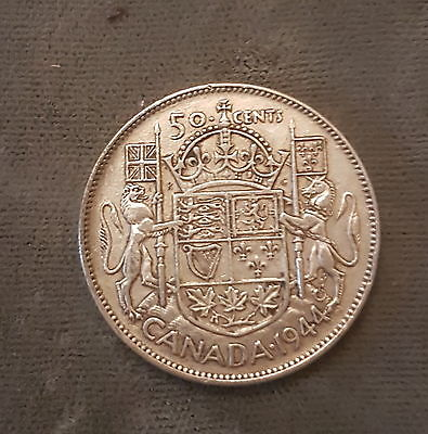 1944 50C Canada 50 Cent Silver Coin - King George VI