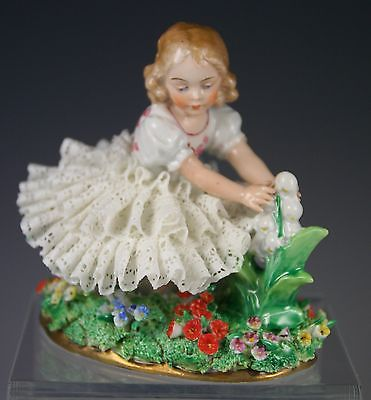 Sitzendorf Germany Porcelain Dresden Lace Figurine Girl Holding Lilies
