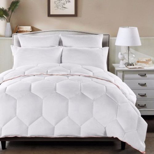White Geometric Hexagon Down Alternative Comforter Twin Size with Orange Borders