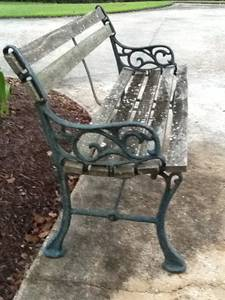 PARK BENCH wrought iron with cypress