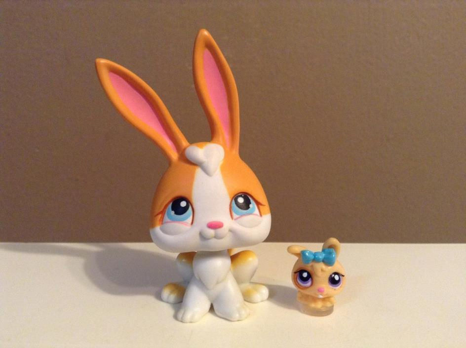 Littlest Pet Shop LOT MOM & BABY TEENSIE RABBIT ORANGE & WHITE SPRING EASTER #75