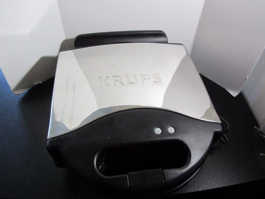 KRUPS 654 BELGIAN WAFFLE MAKER NONSTICK PLATES LED STAINLESS STEEL HOUSING