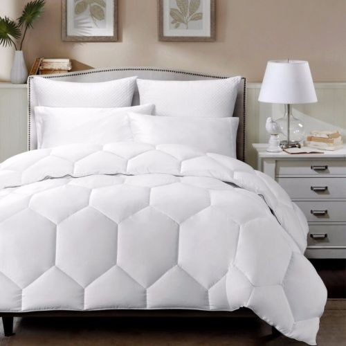 White Geometric Hexagon Down Alternative Comforter Twin Size w/ Charcoal Borders