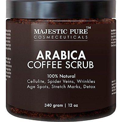Majestic Pure Arabica Coffee Scrub, 12 Oz - Natural Body Scrub for Skin Care, S