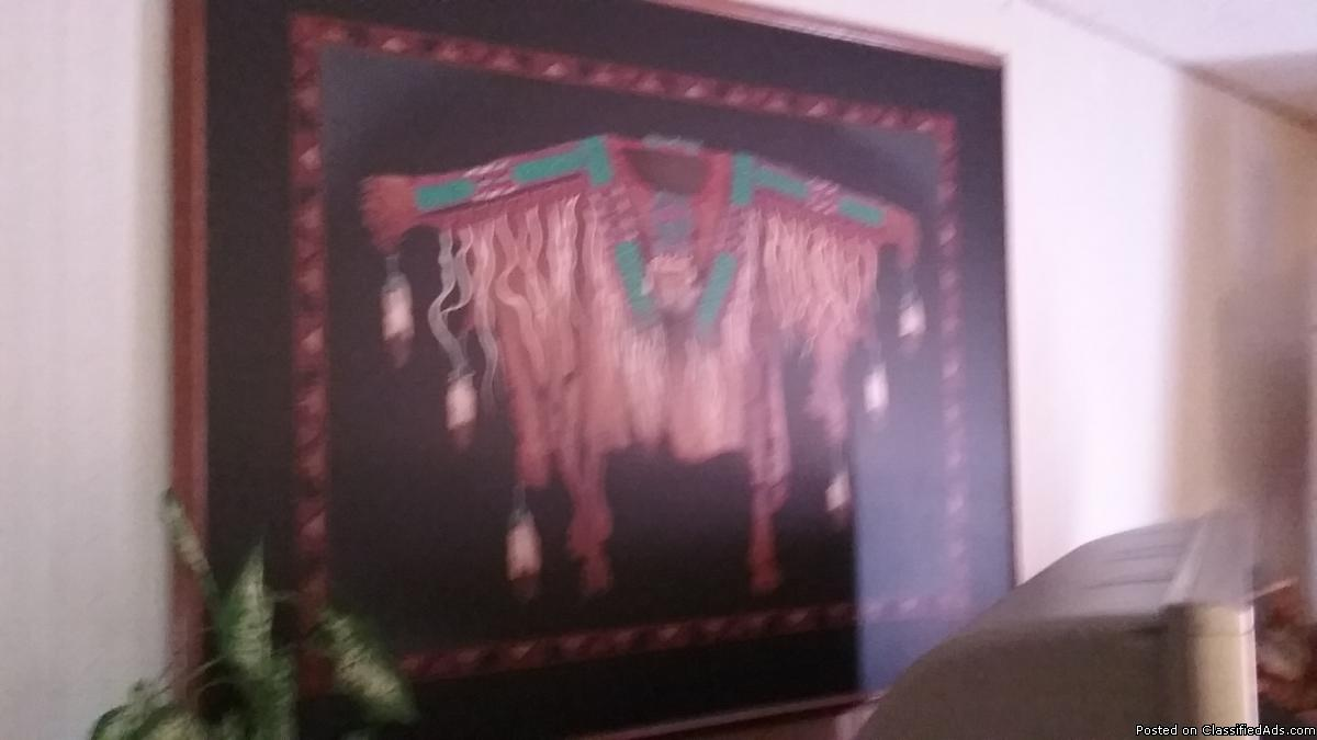 Large oil western native Indian art