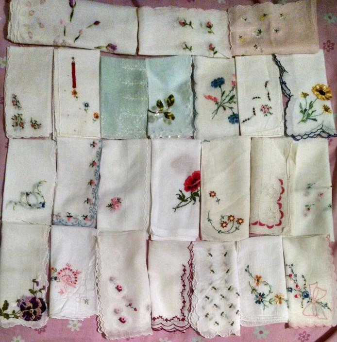 24 VINTAGE HANDKERCHIEFS Hankies Hanky By-Hand EMBROIDERY Cotton/Linen/Silk