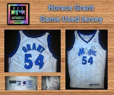 98-99 Horace Grant NBA Game Used Champion Jersey White Orlando Magic #54 Clemson