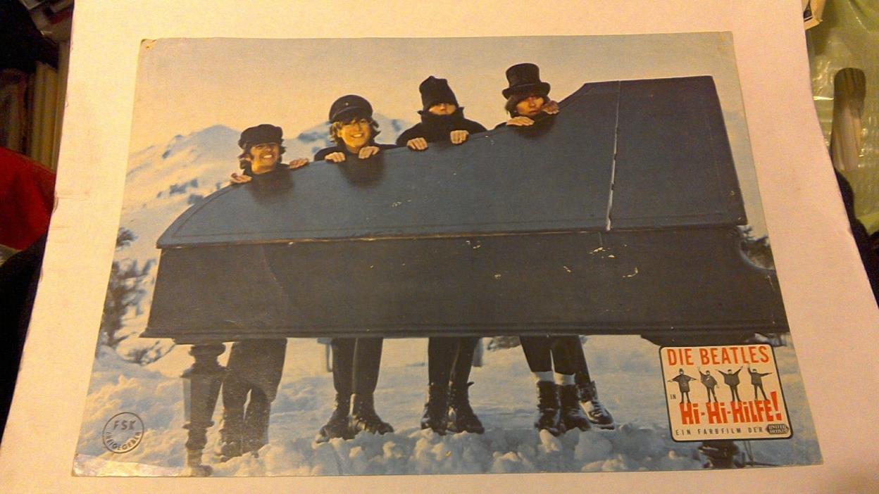 BEATLES 1965 HELP PIANO GERMAN ORIGINAL LOBBY CARD VG PINHOLES SCARCE CLEAN HTF