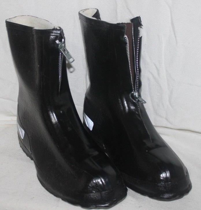 LaCrosse Men's 11 Zip Lined Black Rubber Overshoe Reflective Boots IOB O