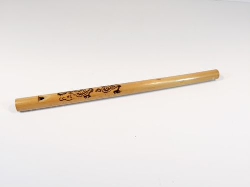 Vintage wooden flute with dragon on it japanese asian