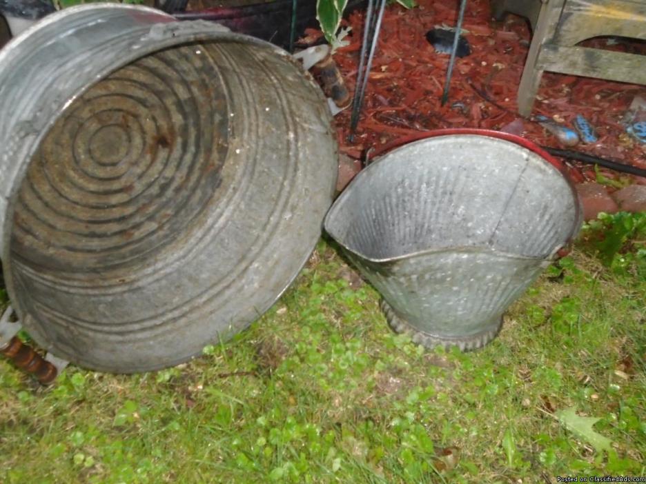 Primitive Galvanized Wash Tub/Planter & Coal Bucket
