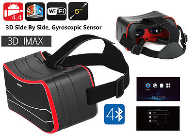 Android WiFi VR Glasses - 3D Side/Side, Gyroscopic, 5 Inch HD Screen, Quad, Blu