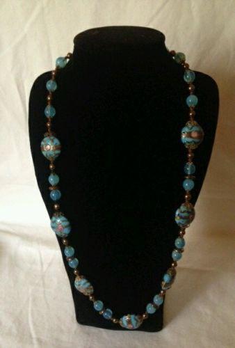 Beautiful Vintage Blue Wedding Cake Glass Bead Necklace