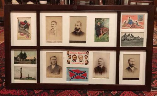 RARE Vintage Civil War Postcards and Antique Photos Lot Framed